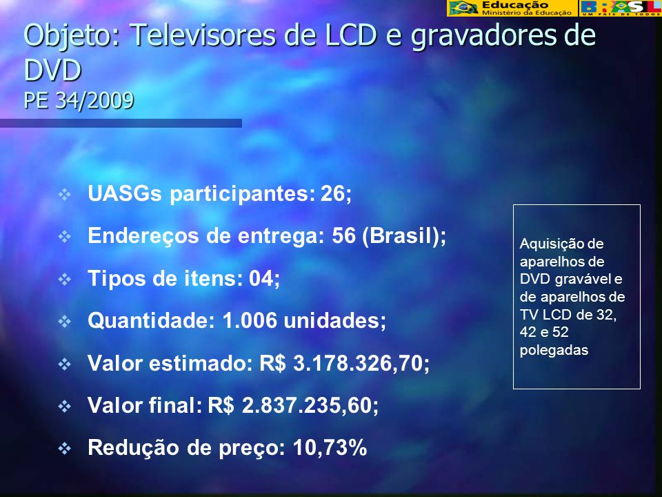 Objeto: Televisores de LCD e gravadores de DVD PE 34/2009 UASGs participantes: 26; Endereços de entrega: 56 (Brasil); Tipos de itens: 04; Quantidade: 1.006 unidades; Valor estimado: R$ 3.178.326,70; Valor final: R$ 2.837.235,60; Redução de preço: 10,73% Aquisição de aparelhos de DVD gravável e de aparelhos de TV LCD de 32, 42 e 52 polegadas