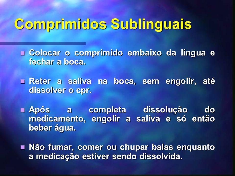 Comprimidos Sublinguais Colocar o comprimido embaixo da língua e fechar a boca. Colocar o comprimido embaixo da língua e fechar a boca. Reter a saliva