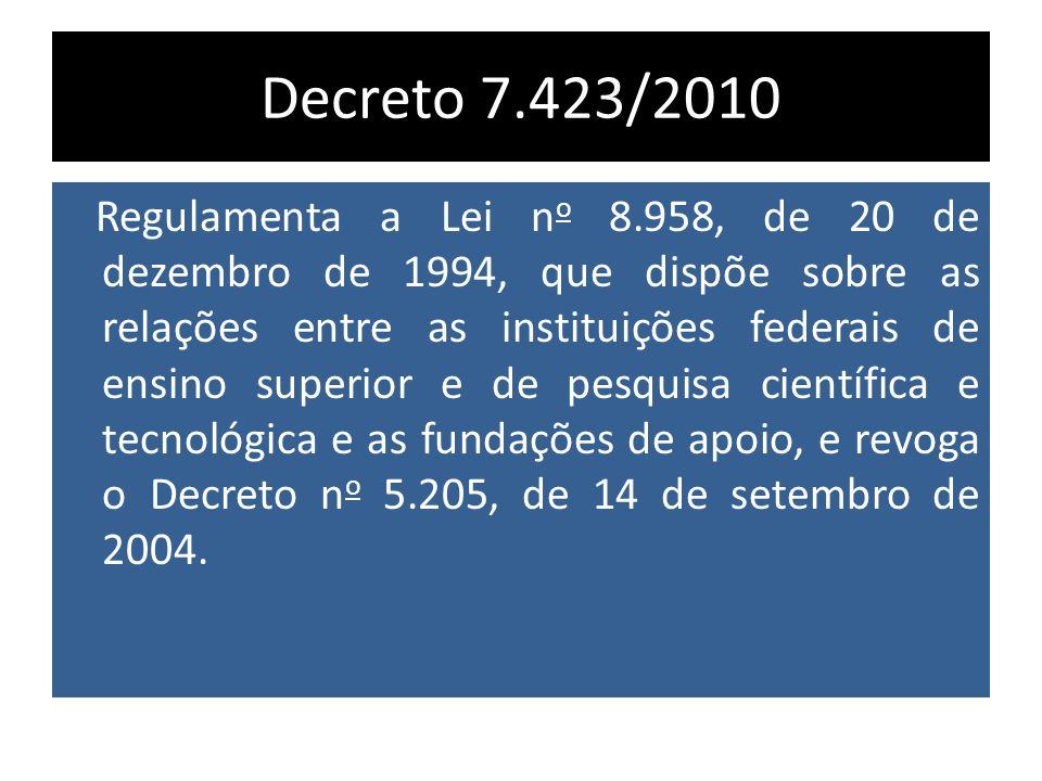 Decreto 7.423/2010 Regulamenta a Lei n o 8.958, de 20 de dezembro de 1994, que dispõe sobre as relações entre as instituições federais de ensino superior e de pesquisa científica e tecnológica e as fundações de apoio, e revoga o Decreto n o 5.205, de 14 de setembro de 2004.