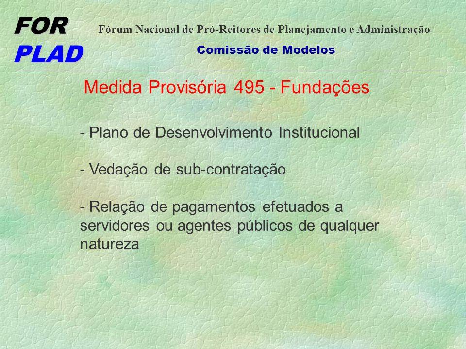 FOR PLAD Fórum Nacional de Pró-Reitores de Planejamento e Administração Comissão de Modelos Medida Provisória 495 - Fundações - Plano de Desenvolvimento Institucional - Vedação de sub-contratação - Relação de pagamentos efetuados a servidores ou agentes públicos de qualquer natureza
