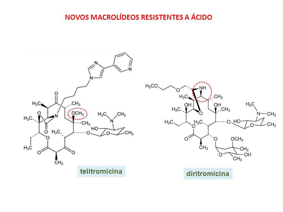 telitromicina diritromicina NOVOS MACROLÍDEOS RESISTENTES A ÁCIDO