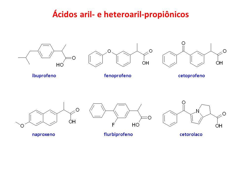 Ácidos aril- e heteroaril-propiônicos ibuprofenofenoprofenocetoprofeno naproxeno flurbiprofeno cetorolaco