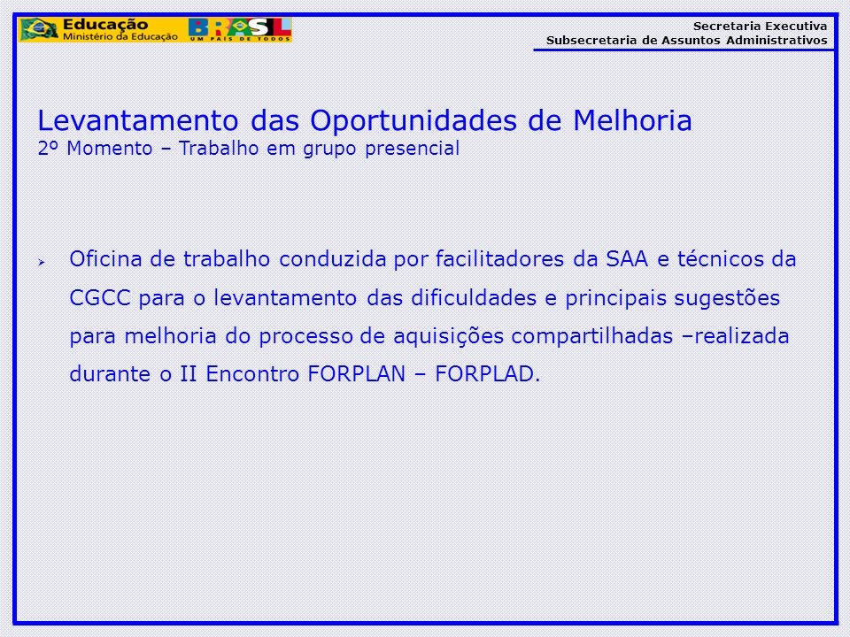 Secretaria Executiva Subsecretaria de Assuntos Administrativos Levantamento das Oportunidades de Melhoria 2º Momento – Trabalho em grupo presencial Of