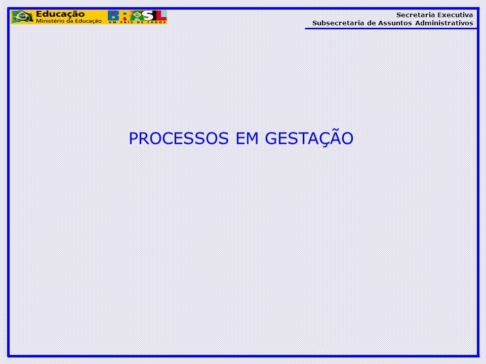 Secretaria Executiva Subsecretaria de Assuntos Administrativos PROCESSOS EM GESTAÇÃO