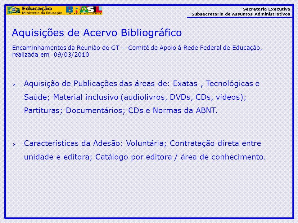 Secretaria Executiva Subsecretaria de Assuntos Administrativos Aquisição de Publicações das áreas de: Exatas, Tecnológicas e Saúde; Material inclusivo