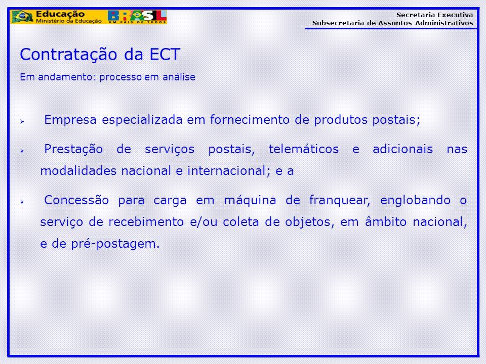 Secretaria Executiva Subsecretaria de Assuntos Administrativos Contratação da ECT Em andamento: processo em análise Empresa especializada em fornecime