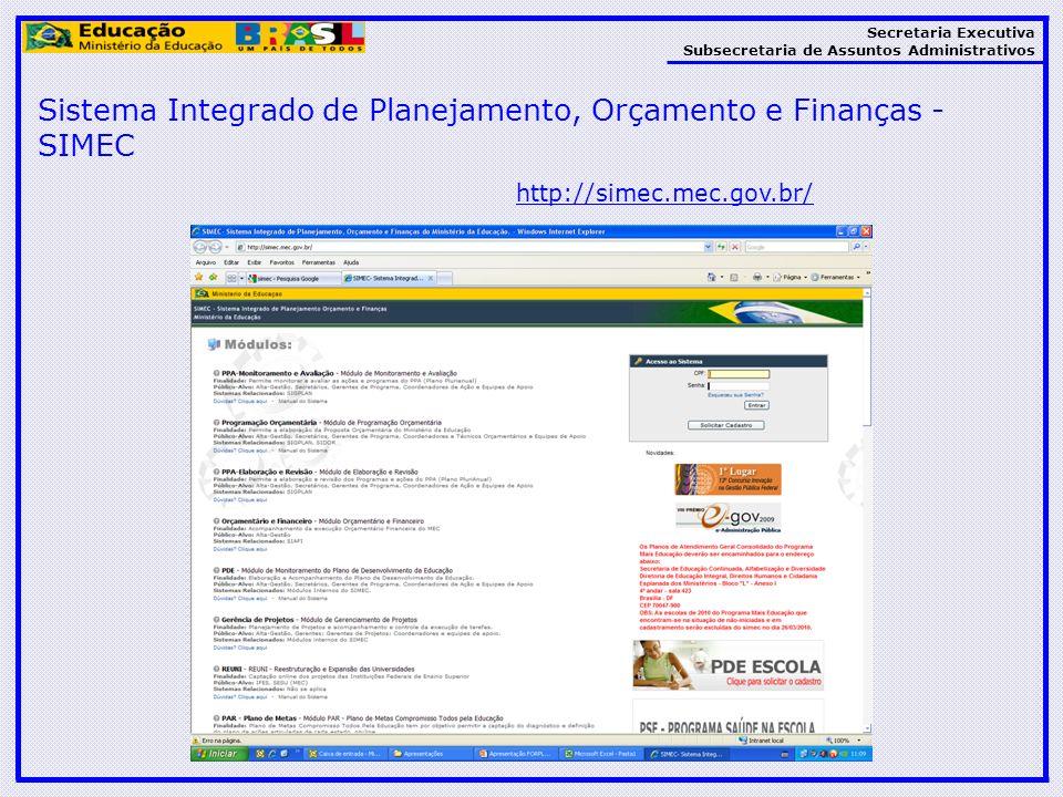 Secretaria Executiva Subsecretaria de Assuntos Administrativos Sistema Integrado de Planejamento, Orçamento e Finanças - SIMEC http://simec.mec.gov.br