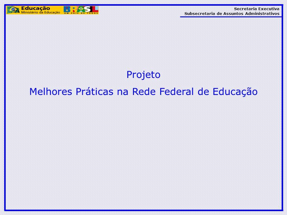 Secretaria Executiva Subsecretaria de Assuntos Administrativos Projeto Melhores Práticas na Rede Federal de Educação
