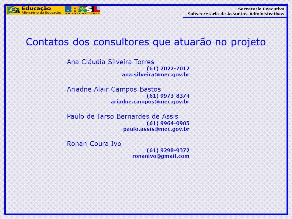 Secretaria Executiva Subsecretaria de Assuntos Administrativos Contatos dos consultores que atuarão no projeto Ana Cláudia Silveira Torres (61) 2022-7