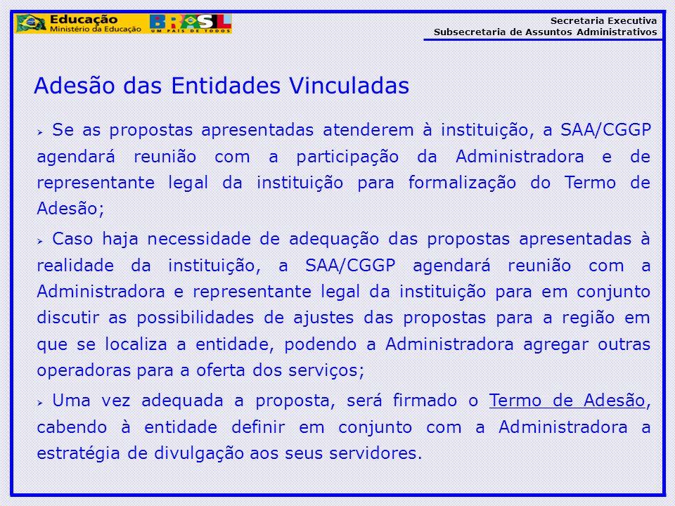 Secretaria Executiva Subsecretaria de Assuntos Administrativos Se as propostas apresentadas atenderem à instituição, a SAA/CGGP agendará reunião com a