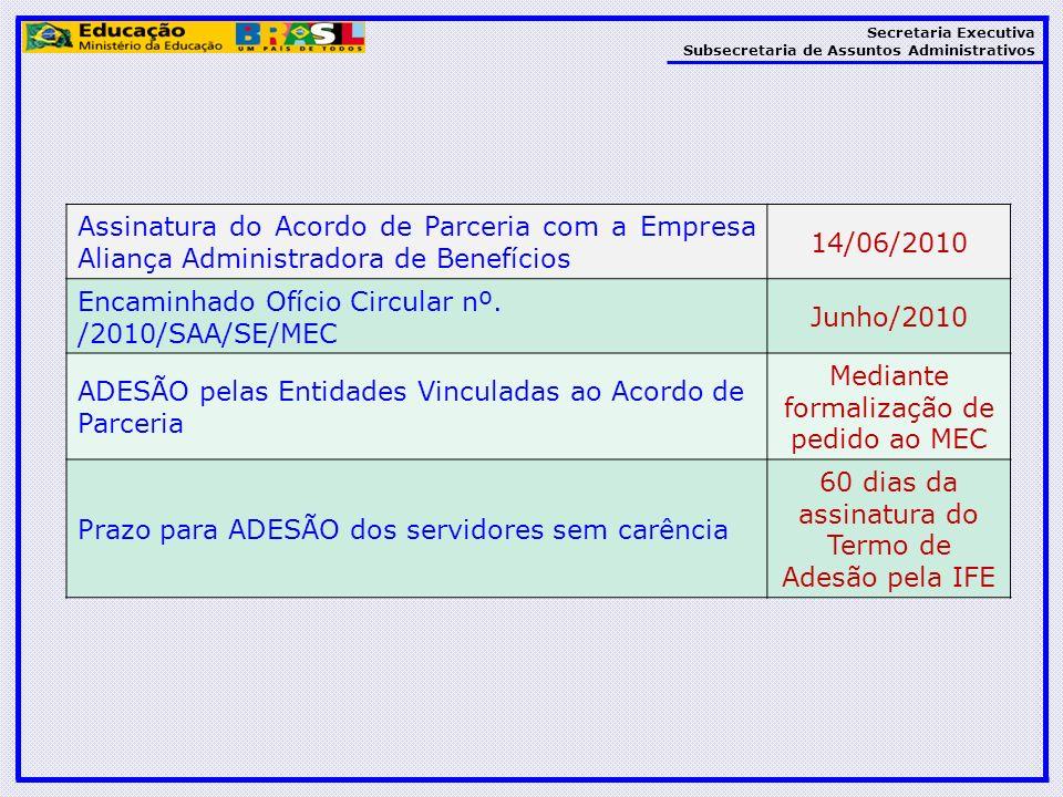Secretaria Executiva Subsecretaria de Assuntos Administrativos Assinatura do Acordo de Parceria com a Empresa Aliança Administradora de Benefícios 14/