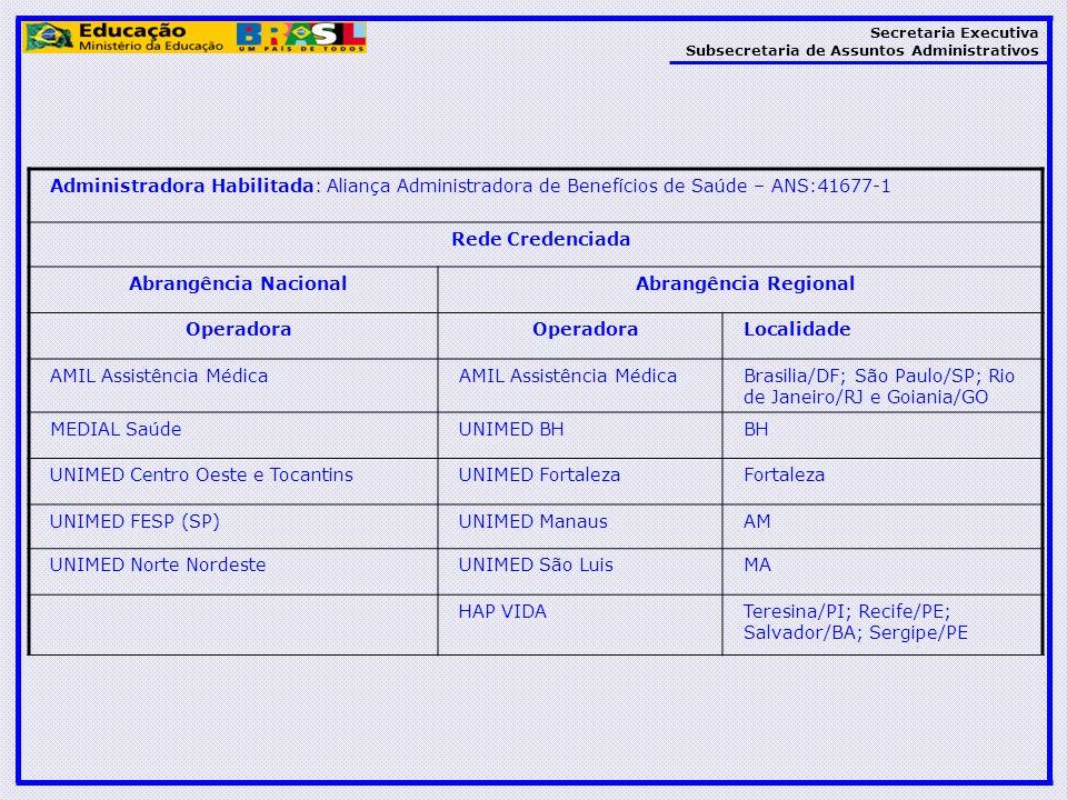 Secretaria Executiva Subsecretaria de Assuntos Administrativos Administradora Habilitada: Aliança Administradora de Benefícios de Saúde – ANS:41677-1
