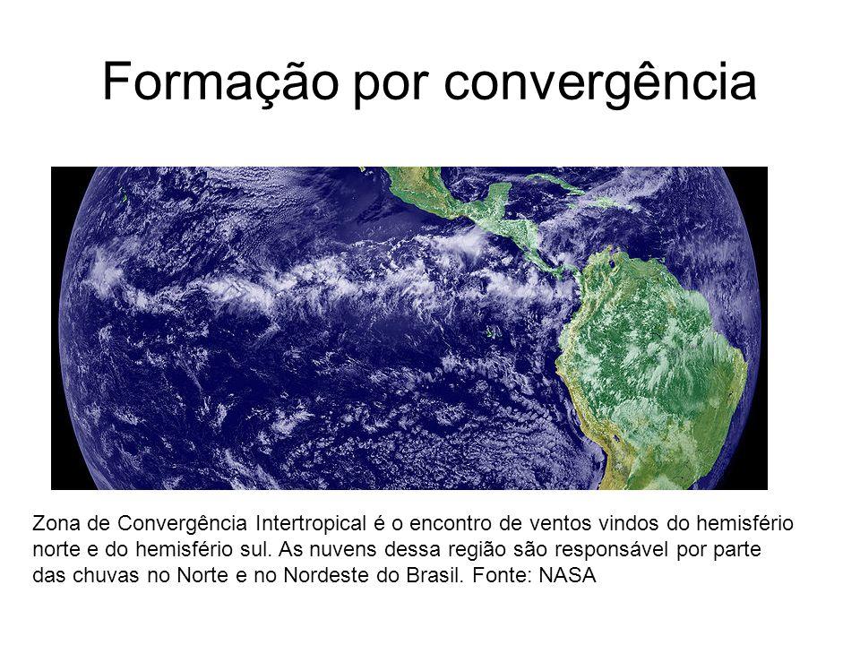 Formação por convergência Zona de Convergência Intertropical é o encontro de ventos vindos do hemisfério norte e do hemisfério sul. As nuvens dessa re