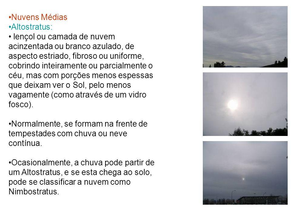 Nuvens Médias Altostratus: lençol ou camada de nuvem acinzentada ou branco azulado, de aspecto estriado, fibroso ou uniforme, cobrindo inteiramente ou