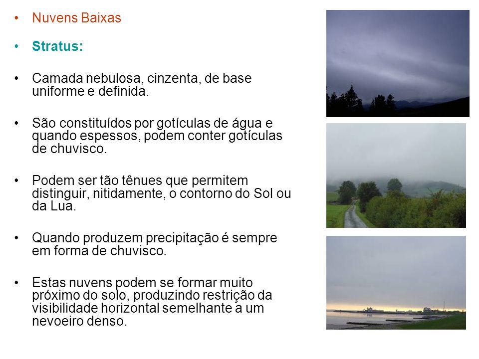 Nuvens Baixas Stratus: Camada nebulosa, cinzenta, de base uniforme e definida. São constituídos por gotículas de água e quando espessos, podem conter