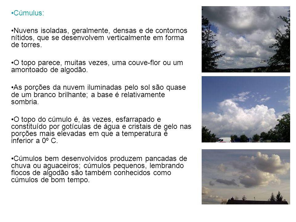 Cúmulus: Nuvens isoladas, geralmente, densas e de contornos nítidos, que se desenvolvem verticalmente em forma de torres. O topo parece, muitas vezes,