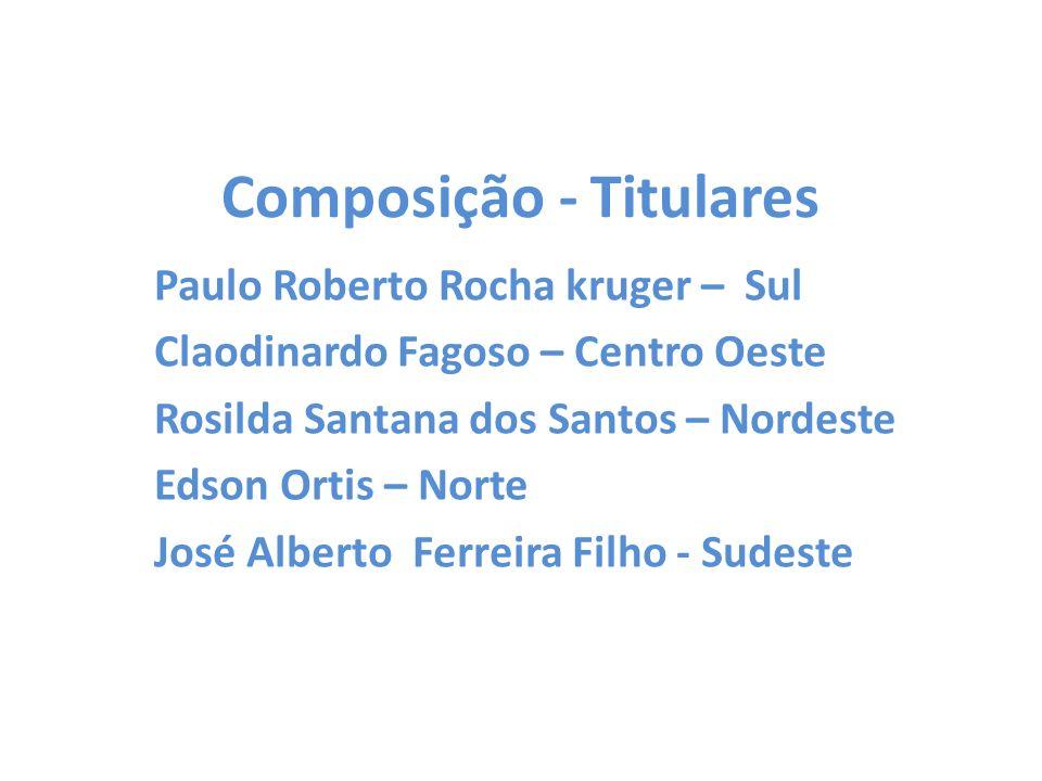 Composição - Titulares Paulo Roberto Rocha kruger – Sul Claodinardo Fagoso – Centro Oeste Rosilda Santana dos Santos – Nordeste Edson Ortis – Norte Jo