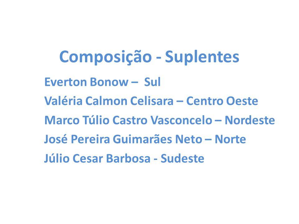 Composição - Suplentes Everton Bonow – Sul Valéria Calmon Celisara – Centro Oeste Marco Túlio Castro Vasconcelo – Nordeste José Pereira Guimarães Neto