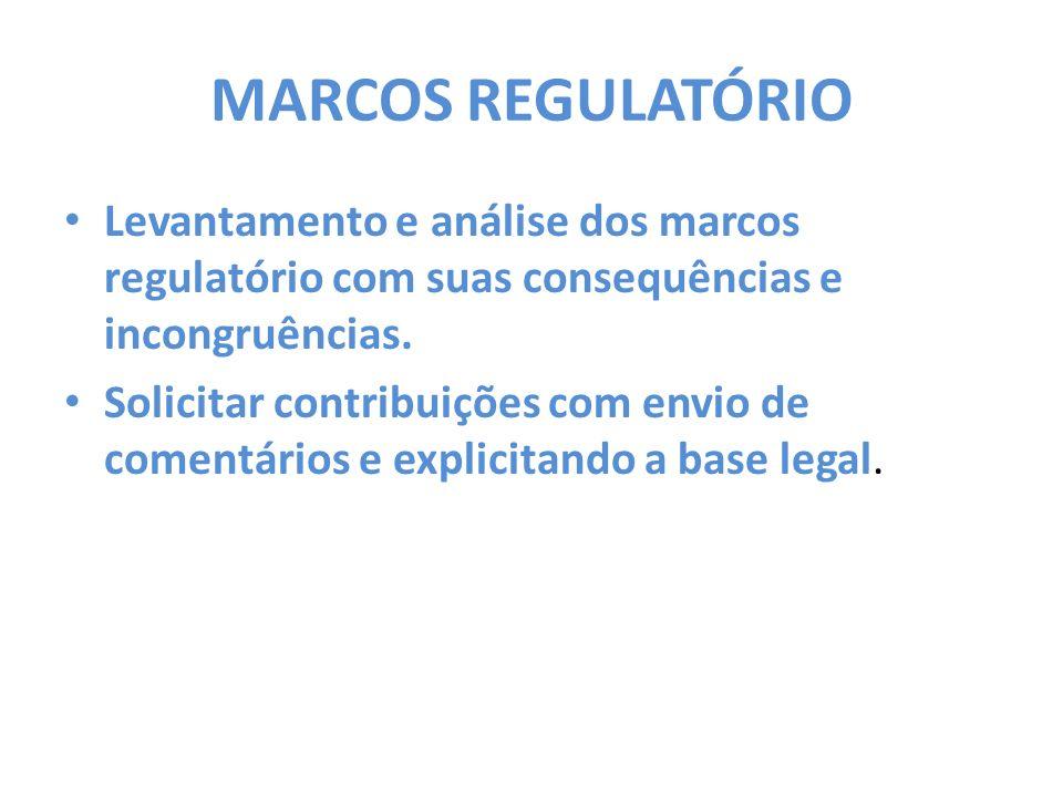 MARCOS REGULATÓRIO Levantamento e análise dos marcos regulatório com suas consequências e incongruências. Solicitar contribuições com envio de comentá
