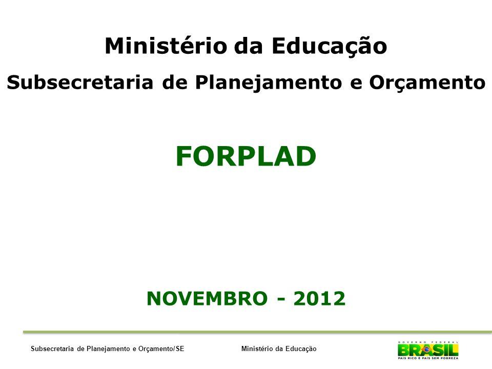 Ministério da EducaçãoSubsecretaria de Planejamento e Orçamento/SE Ministério da Educação Subsecretaria de Planejamento e Orçamento FORPLAD NOVEMBRO -