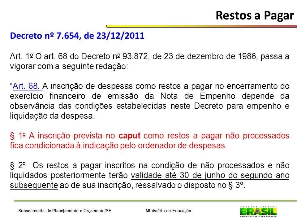 Ministério da EducaçãoSubsecretaria de Planejamento e Orçamento/SE Restos a Pagar Decreto nº 7.654, de 23/12/2011 Art. 1 o O art. 68 do Decreto n o 93