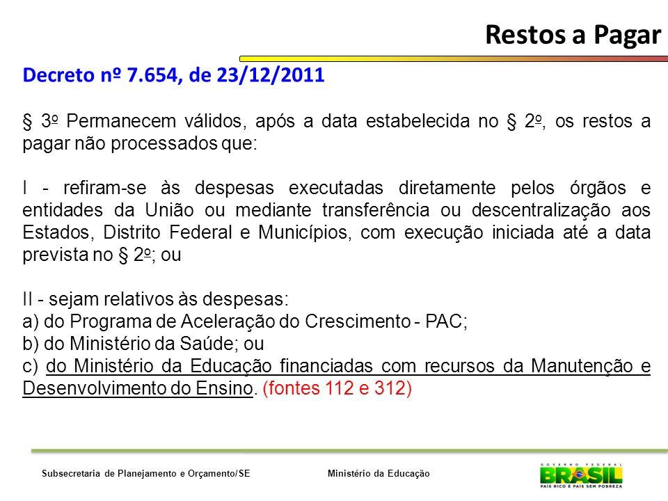 Ministério da EducaçãoSubsecretaria de Planejamento e Orçamento/SE Restos a Pagar Decreto nº 7.654, de 23/12/2011 § 3 o Permanecem válidos, após a dat