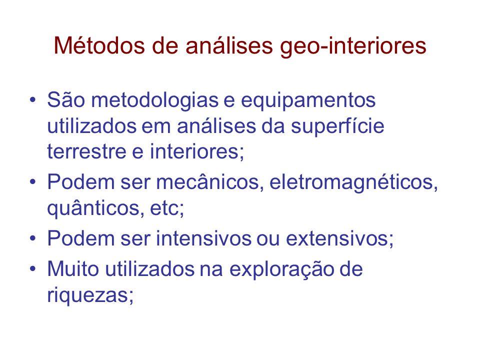Métodos de análises geo-interiores São metodologias e equipamentos utilizados em análises da superfície terrestre e interiores; Podem ser mecânicos, e