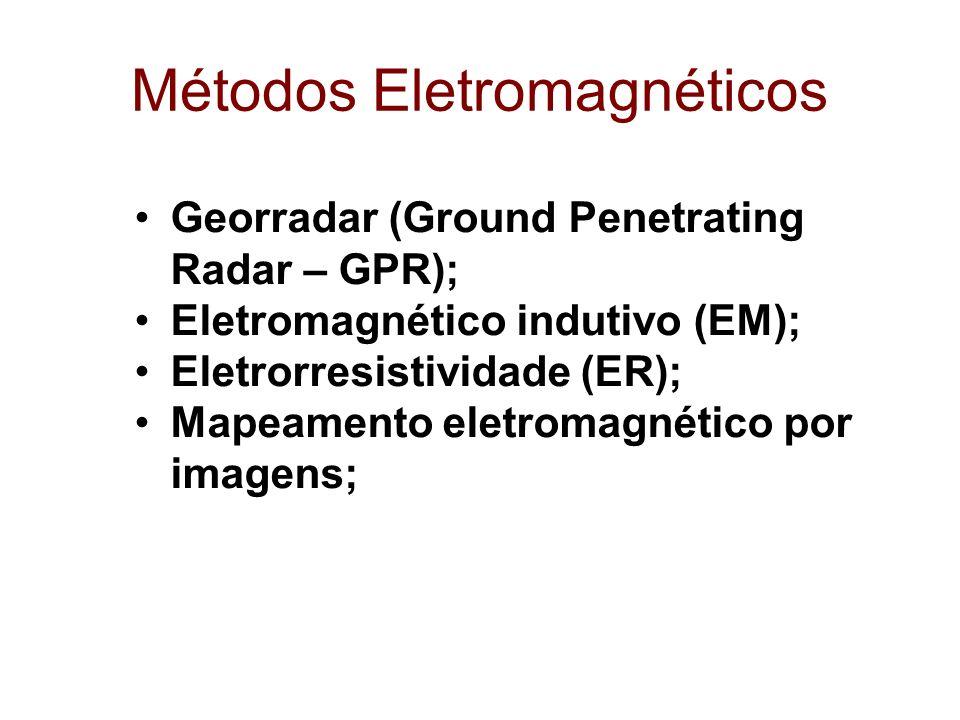 Métodos Eletromagnéticos Georradar (Ground Penetrating Radar – GPR); Eletromagnético indutivo (EM); Eletrorresistividade (ER); Mapeamento eletromagnét