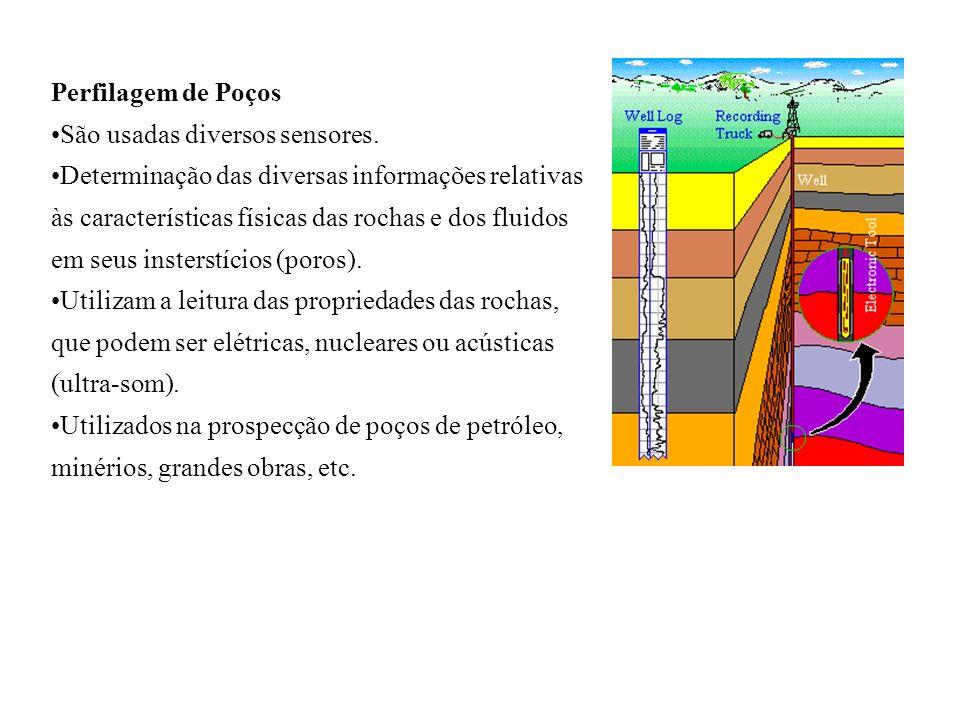 Perfilagem de Poços São usadas diversos sensores. Determinação das diversas informações relativas às características físicas das rochas e dos fluidos