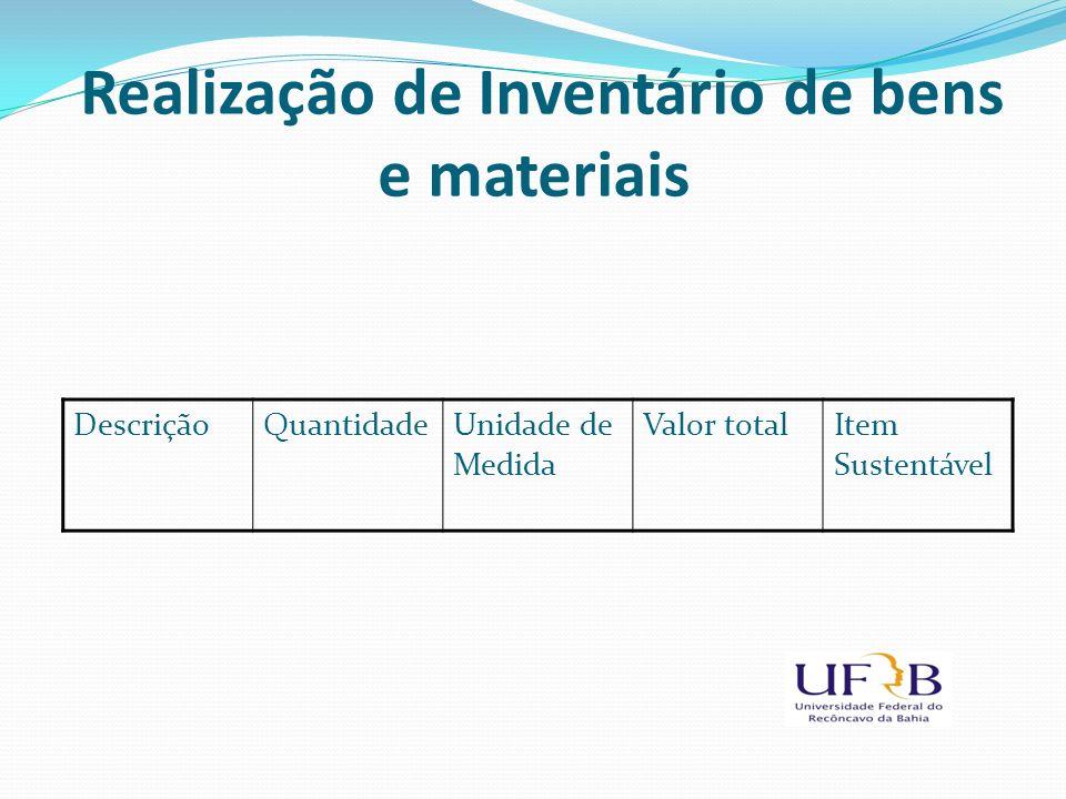 Realização de Inventário de bens e materiais DescriçãoQuantidadeUnidade de Medida Valor totalItem Sustentável