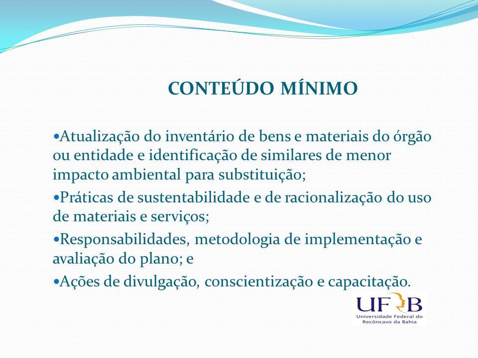 CONTEÚDO MÍNIMO Atualização do inventário de bens e materiais do órgão ou entidade e identificação de similares de menor impacto ambiental para substi