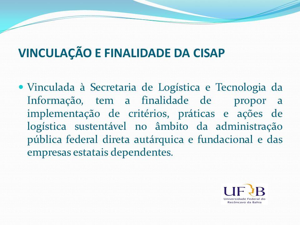 VINCULAÇÃO E FINALIDADE DA CISAP Vinculada à Secretaria de Logística e Tecnologia da Informação, tem a finalidade de propor a implementação de critéri