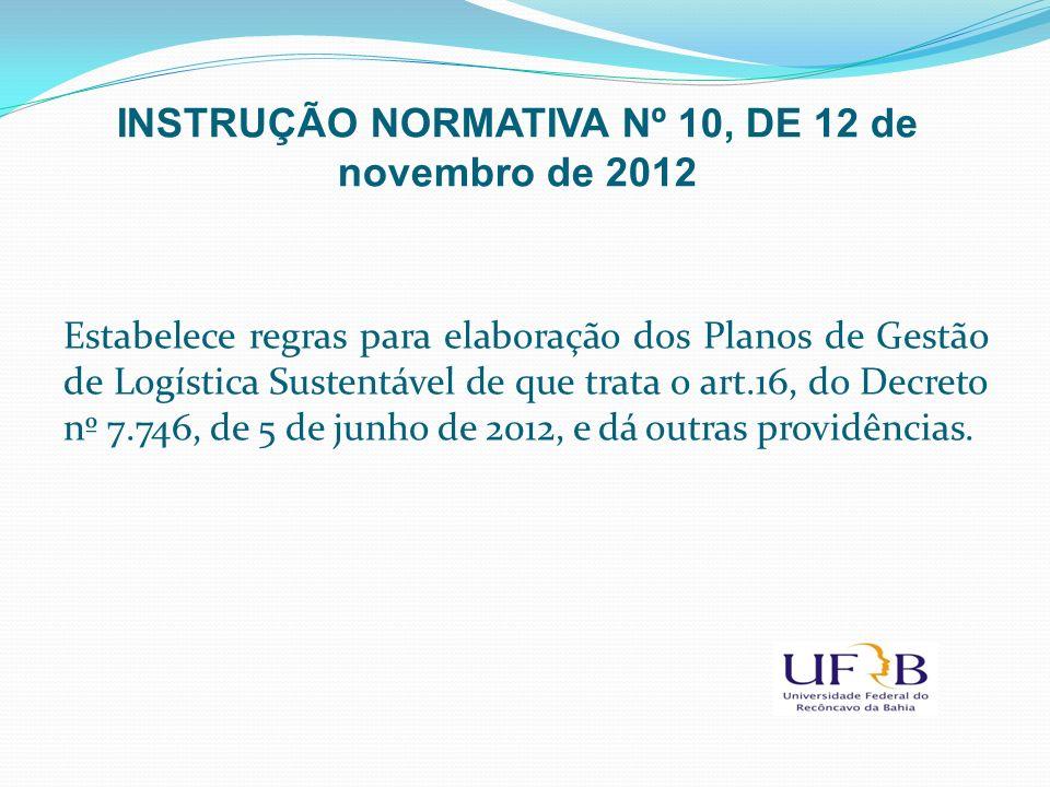 Estabelece regras para elaboração dos Planos de Gestão de Logística Sustentável de que trata o art.16, do Decreto nº 7.746, de 5 de junho de 2012, e d