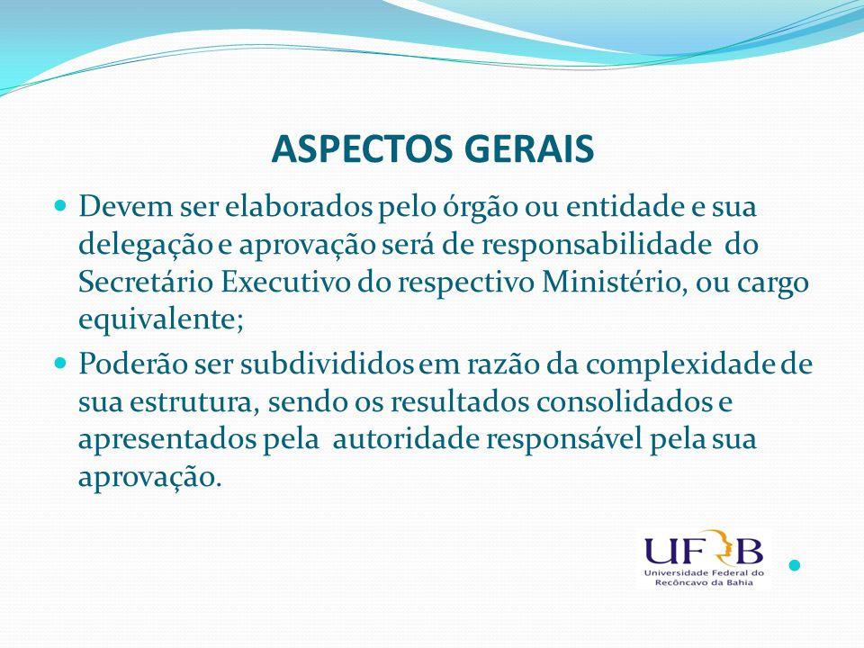 ASPECTOS GERAIS Devem ser elaborados pelo órgão ou entidade e sua delegação e aprovação será de responsabilidade do Secretário Executivo do respectivo