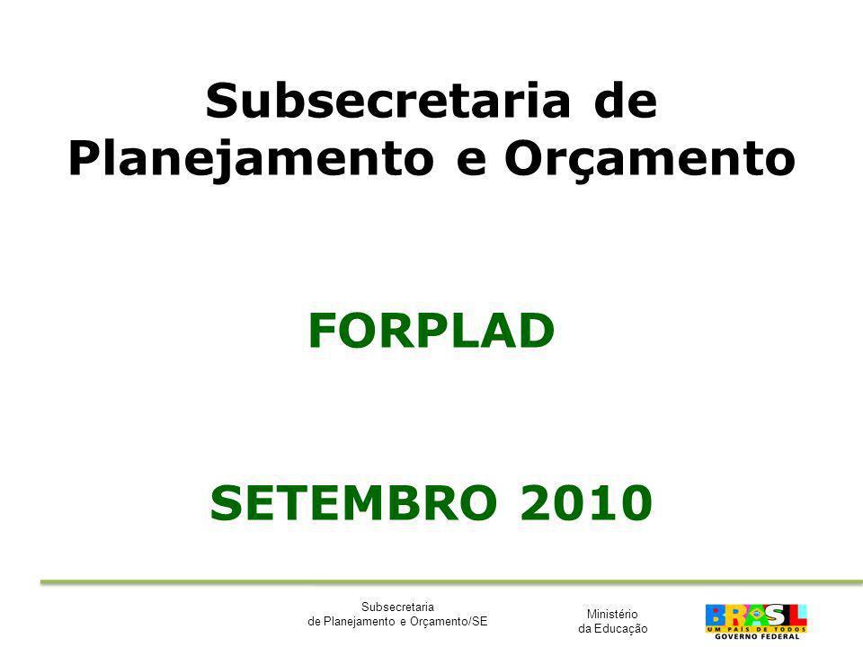 Ministério da Educação Subsecretaria de Planejamento e Orçamento/SE Subsecretaria de Planejamento e Orçamento FORPLAD SETEMBRO 2010
