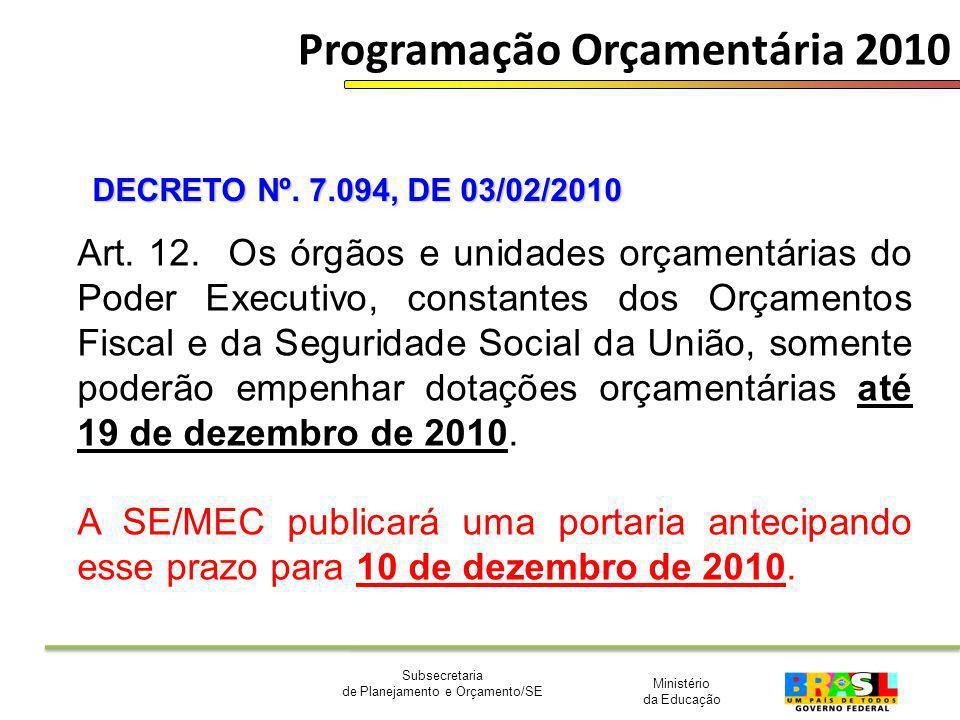 Ministério da Educação Subsecretaria de Planejamento e Orçamento/SE Programação Orçamentária 2010 Art. 12. Os órgãos e unidades orçamentárias do Poder