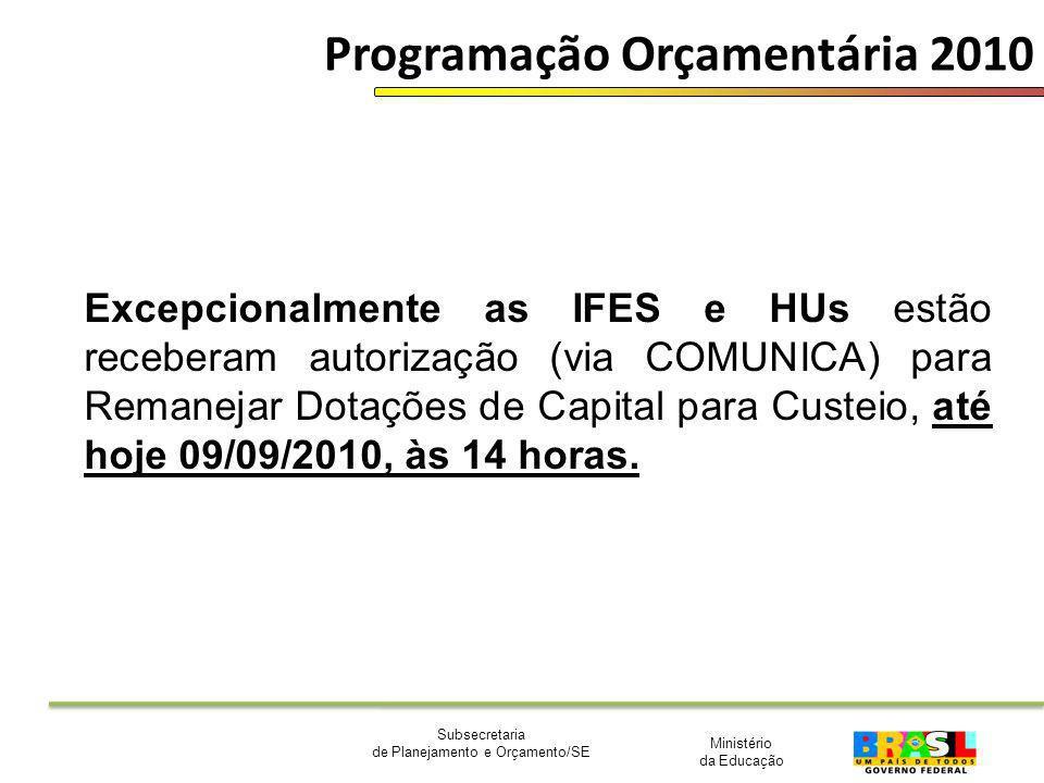 Ministério da Educação Subsecretaria de Planejamento e Orçamento/SE Programação Orçamentária 2010 Excepcionalmente as IFES e HUs estão receberam autor