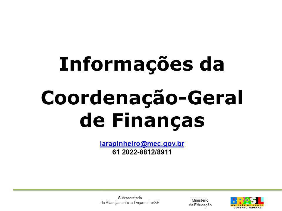 Ministério da Educação Subsecretaria de Planejamento e Orçamento/SE Informações da Coordenação-Geral de Finanças iarapinheiro@mec.gov.br 61 2022-8812/