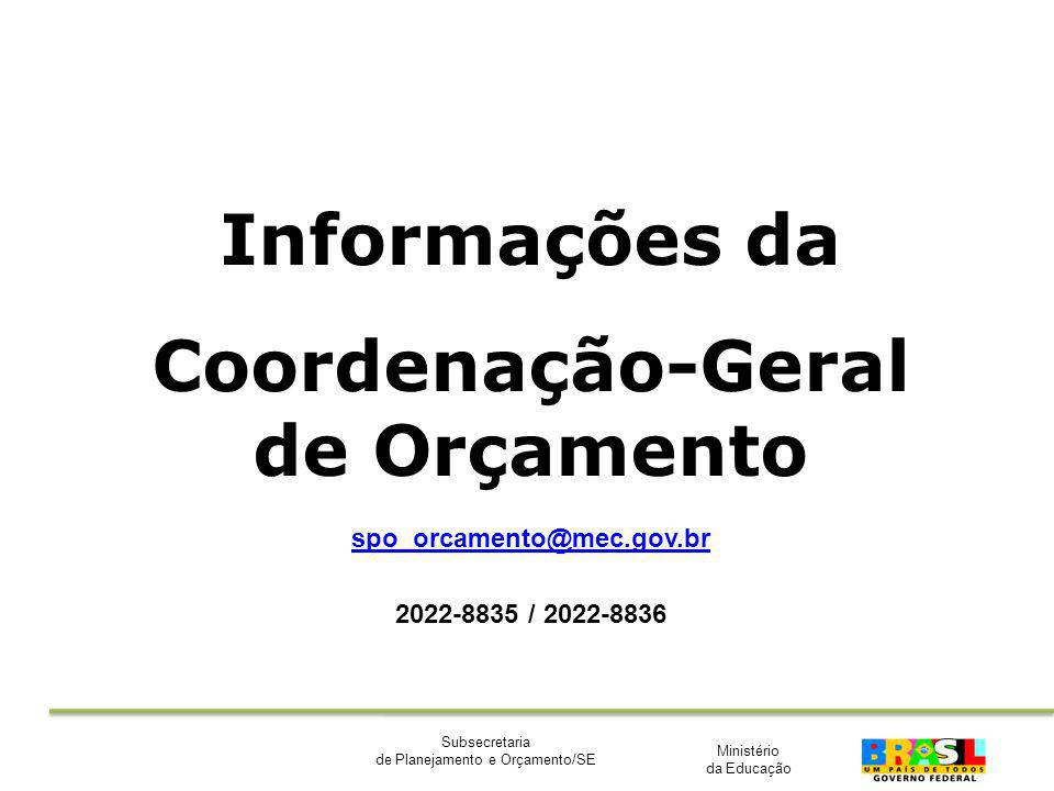 Ministério da Educação Subsecretaria de Planejamento e Orçamento/SE Informações da Coordenação-Geral de Orçamento spo_orcamento@mec.gov.br 2022-8835 /