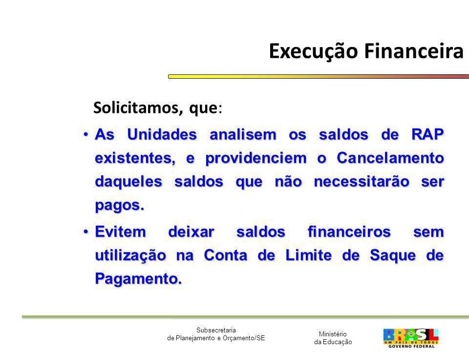 Ministério da Educação Subsecretaria de Planejamento e Orçamento/SE Execução Financeira Solicitamos, que: As Unidades analisem os saldos de RAP existe