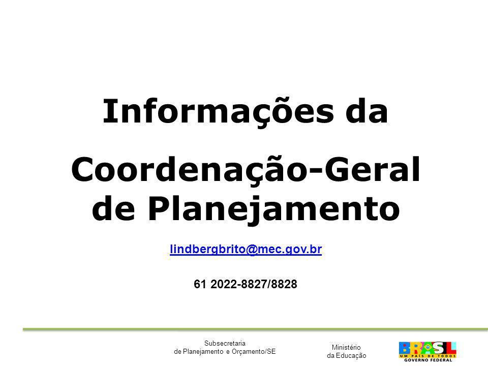 Ministério da Educação Subsecretaria de Planejamento e Orçamento/SE Informações da Coordenação-Geral de Planejamento lindbergbrito@mec.gov.br 61 2022-