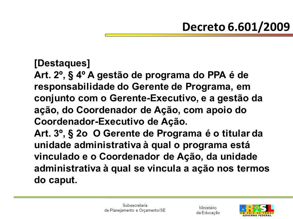 Ministério da Educação Subsecretaria de Planejamento e Orçamento/SE Decreto 6.601/2009 [Destaques] Art. 2º, § 4º A gestão de programa do PPA é de resp