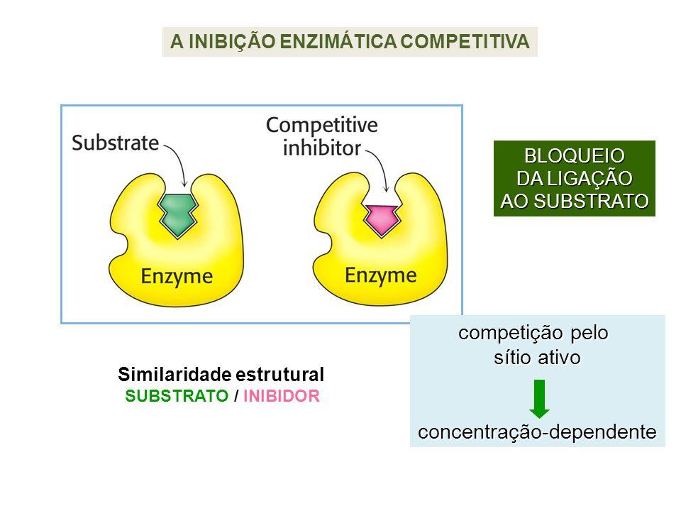 A INIBIÇÃO ENZIMÁTICA COMPETITIVA Similaridade estrutural SUBSTRATO / INIBIDOR competição pelo sítio ativo concentração-dependente BLOQUEIO DA LIGAÇÃO