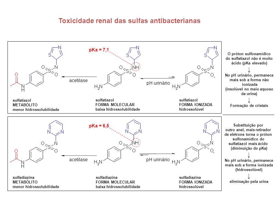 Toxicidade renal das sulfas antibacterianas sulfatiazol FORMA MOLECULAR baixa hidrossolubilidade sulfatiazol FORMA IONIZADA hidrossolúvel pH urinário