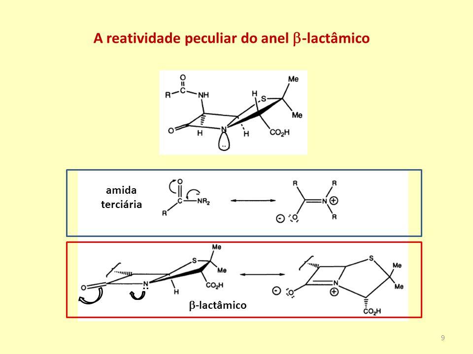 INSATABILIDADE DOS COMPOSTOS -LACTÂMICOS A abertura do anel -lactâmico anula o efeito antibiótico Hidrólise em meio ácido Hidrólise em meio ácido com auxílio da cadeia lateral 10