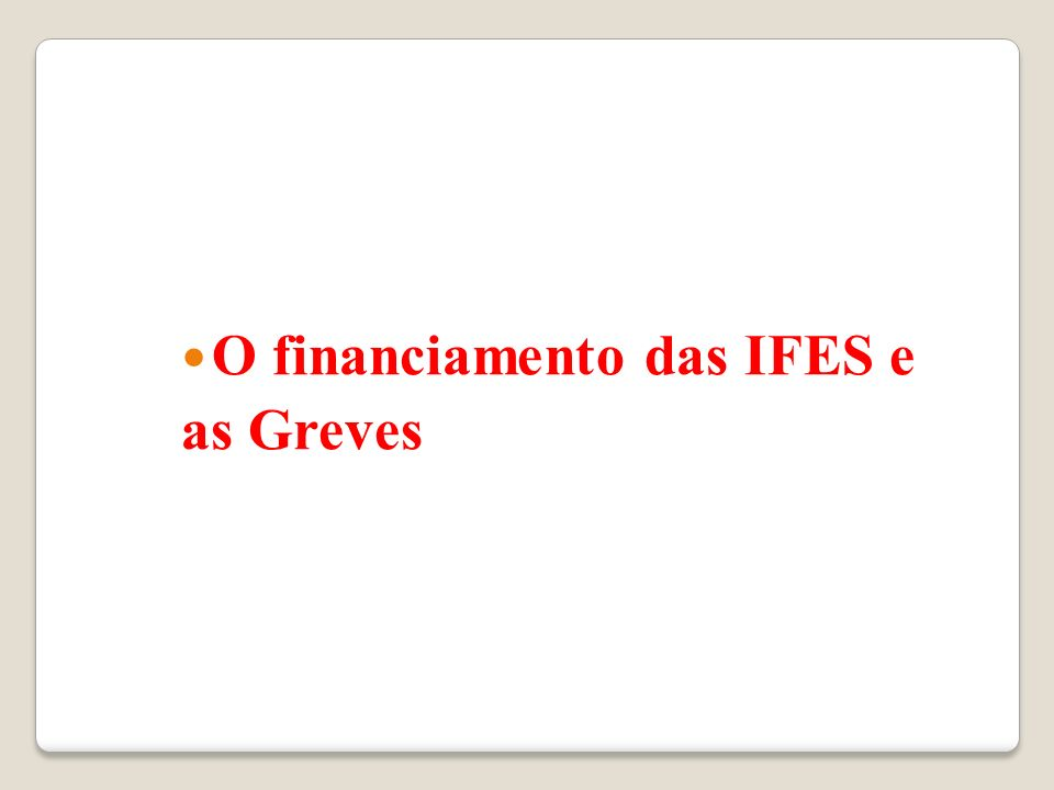 O financiamento das IFES e as Greves