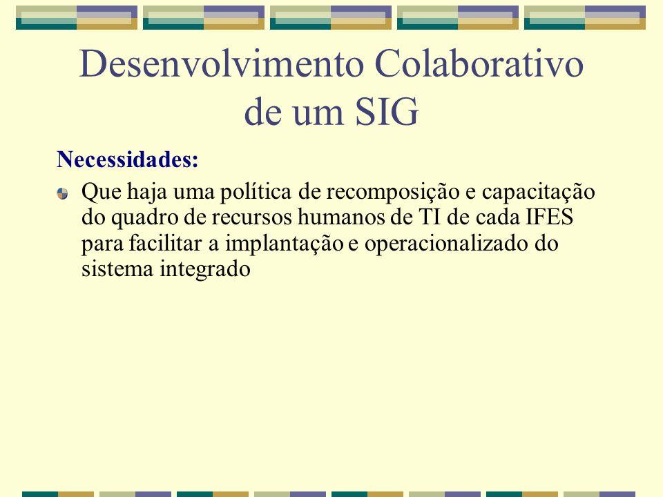 Desenvolvimento Colaborativo de um SIG Necessidades: Que haja uma política de recomposição e capacitação do quadro de recursos humanos de TI de cada I