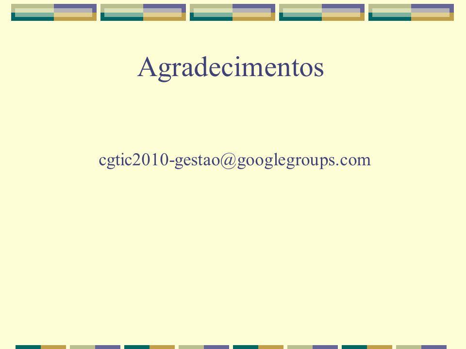 Agradecimentos cgtic2010-gestao@googlegroups.com