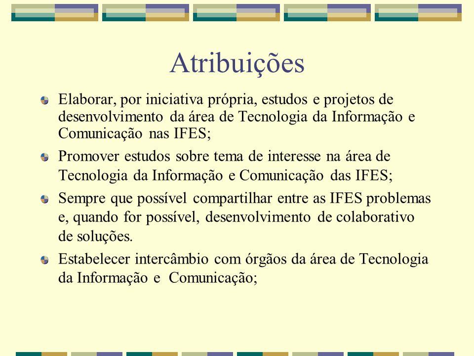 Atribuições Elaborar, por iniciativa própria, estudos e projetos de desenvolvimento da área de Tecnologia da Informação e Comunicação nas IFES; Promov