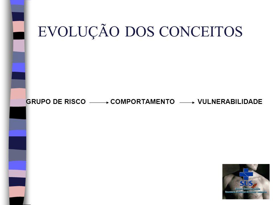 EVOLUÇÃO DOS CONCEITOS GRUPO DE RISCO COMPORTAMENTO VULNERABILIDADE